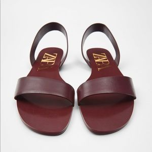 Zara TRF burgundy red flat leather sandals